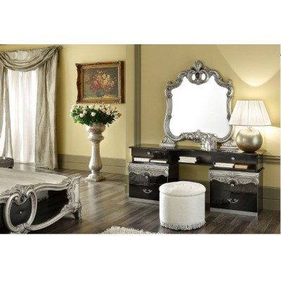 Barocco Black Silver Vanity and Pouf