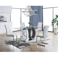 Grey Drift Wood 5pc Dining Set with Spring White Dining Chair
