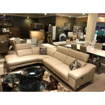 Beige Leather Power Reclining Sectional