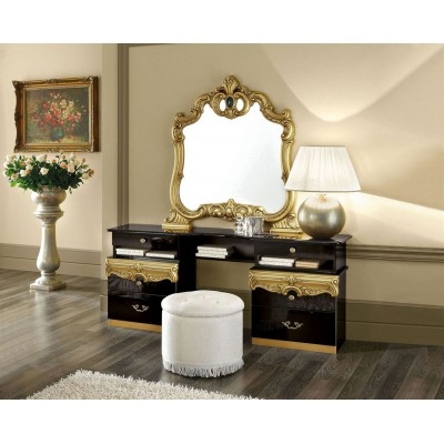 Barocco Black Gold Vanity and Pouf