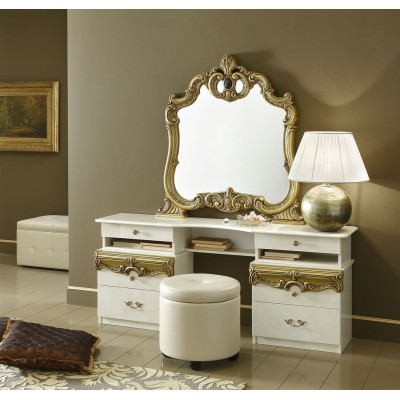 Barocco Ivory and Gold Vanity and Pouf