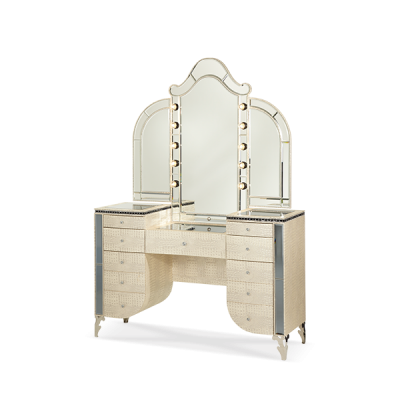 Hollywood Swank Crystal Croc Vanity and Mirror by AICO