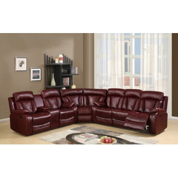 Charlotte Reclining Sectional in Burgundy Bonded Leather